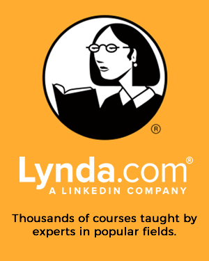 Graphic of woman looking at book with the caption Lynda.com